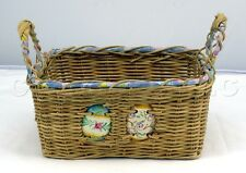 Decorative Square Woven Grass Wicker Ceramic Easter Eggs Basket with Handles