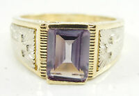 10K Yellow White Two Tone Gold Amethyst Ring Crosses Sides Emerald Cut Size 3.5