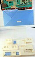 Plasticville  White Walls & Chimney Blue Roof  Ranch House Kit #RH-1 Box (#1)