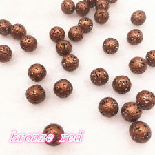 4/6/8/10/12mm Silver & Gold Plated Metal Hollow Flower Ball Spacer Beads DIY
