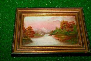 Antique oil on board mountain landscape painting Closson framed Cincinnati