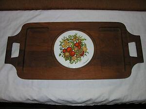 Vtg Goodwood Wood Cheese Tray Platter With Porcelain Trivet