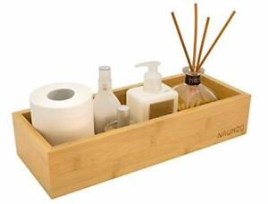 Natural Bamboo Bathroom Tray SlipResistant Wooden Basket for Toilet Tank Top and