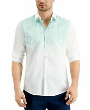 Alfani Mens Shirt Classic Green White Size XL Luke Drip Button Down $65 131