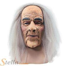 Adulto Miedo Old Altillo Hombre Máscara Con Cabello Largo Abuelo Disfraz de