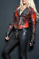 Women's Real Genuine Cowhide Spiked Studded Black And Red Biker Leather Jacket