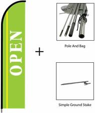 Now Open Sign Banner Feather Swooper Flag Kit Advertising Sign-Light Green, 15ft