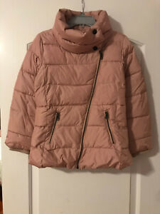 Gap Kids Girls M 8y Pink Moto Warmest Puffer Jacket Coat VGUC