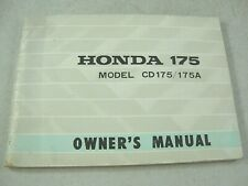 1969-1970 HONDA CA175K3 TOURING CD175-K3 175A OEM Owner's Manual NICE!!!