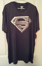 Mens-2X-Superman-T-Shirt-Gray-White-Silver-Graphic-Polyester-Short-Sleeves-NWT