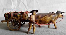 Vnt Japanese Celluloid Figurines Cow Ox Cart 8 Barrels Oriental Asian Miniature