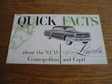 LINCOLN COSMOPOLITAN AND CAPRI QUICK FACTS BROCHURE 1952 USA