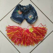 Build A Bear Lot Floral Embroidered Denim Distressed Shorts Pink Hula Skirt GUC