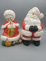 "Vintage Atlantic Mold Mr & Mrs Santa Claus Winking Knitting Ceramic Christmas 9"""