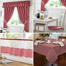 TM Gingham Check Red Kitchen / Cafe Curtains - Pelmets - Seat Pads - Tablecloths