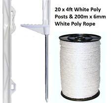 20 x blanc 4ft poteaux & 6mm poly corde clôture électrique clôture cheval chevaux, paddock