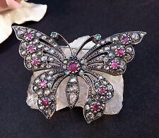 Brosche Anstecknadel, Diamanten zus.3 ca  Antik Schmetterling Rubinen