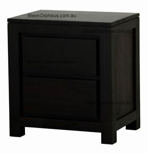 Bedside Table with Drawers , Mahogany Timber Bedside Table Chocolate Brown.