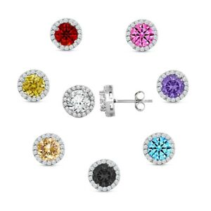 925 Sterling Silver Round Shaped Cubic Zirconia Stud EarringS - All Colors