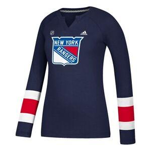 New York Rangers NHL Adidas Women's Navy Blue Long Sleeve Henley T-Shirt