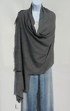 "100% Cashmere  Shawl Handloomed in Nepal ""Natural"" Color Solid: Charcoal Gray"
