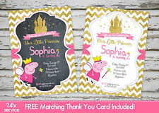 Peppa Pig Birthday Party invitation printable with free matching Thank You card