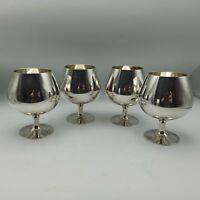 4 x Vintage Silver Plated EPNS A1 Brandy Goblets
