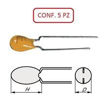 CTG 252.2A CONDENSATORE TANTALIO A GOCCIA 25V 2.2µF PASSO 2.5 CONF. 5 PZ