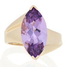 Yellow Gold Amethyst Ring - 10k Marquise Cut 5.25ct Cocktail Solitaire Bypass