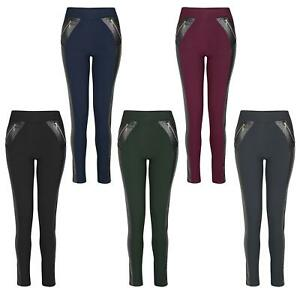 Women Stretchy Faux Leather Inserts Leggings Ladies Full Length Bottoms Size8-22