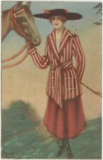 DONNINA CON CAVALLO ILLUSTRATA DINAS 1920