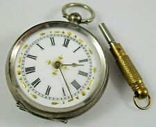 Silver Key Wind No Crystal Runs Early 1800's Swiss Pocket Watch 800