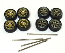 1/64 rubber tyres rims - TE37 CE28 fit Kyosho Hot Wheels Greenlight - 2 sets