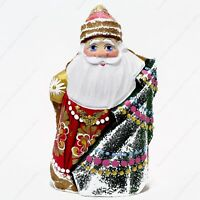 """6"""" SANTA CLAUS STATUE CHRISTMAS RUSSIAN FATHER FROST HAND CARVED WOODEN FIGURE"""
