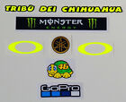 Helmet decal sticker Kit Set Valentino Rossi 2016 + tribu' dei Chihuahua -Yamaha