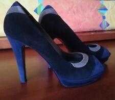 Scarpe Donna Decoltè eleganti scamosciate in vera pelle blu nero beige numero 38