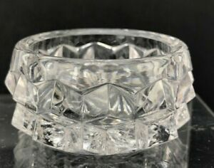 VTG Antique Open Salt Cellar Dip Dish Geometric Shape Lrg Diamond Point GLASS