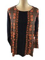 Matilda Jane Women's Blue/Orange Lace Long Sleeve Floret Blouse Sz XL