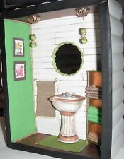 Handmade Unique Lime Bathroom Sink Roombox Diorama One and Only Miniature