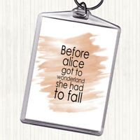 Watercolour Before Alice Quote Bag Tag Keychain Keyring