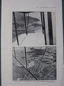1915 WWI WW1 PRINT VIEWS FROM FRENCH AEROPLANE DARDANELLES COAST & TURKISH TOWN