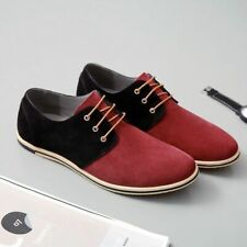 Men Shoes Fashion Patchwork Simple Style Suede Lace Up Casual Leather Big Size