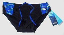 MENS SPEEDO PRO LT BLACK/BLUE SWIM TRUNKS BRIEFS SIZE 30
