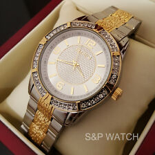 Mens Elegant TWO Tone Bling Iced Out Elgin Round Dress Analog Metal Band Watch
