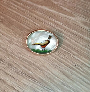 Vintage Krementz pheasant bird jaw clip mother of pearl free tie clip