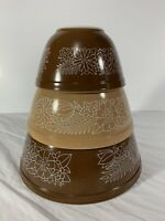 Pyrex Woodland Pattern Vintage Mixing Nesting Bowls #401 #402 #403 | Set of 3