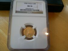 1986 $5 Gold Eagle First Year Of Issue MS70 Graded By NGC