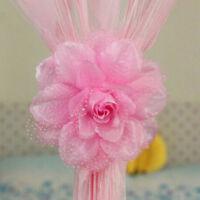 Clip-On Rose Flower Tie Backs Holdbacks For Voile & Net Curtain Panels S