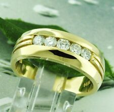 0.75 ct 14k Solid Yellow Gold Mens Natural Channel Set Diamond Ring 5 Stone