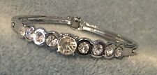 Formal/Bridal Silver Round Crystal Rhinestone Hinged Bangle Bracelet With Clasp